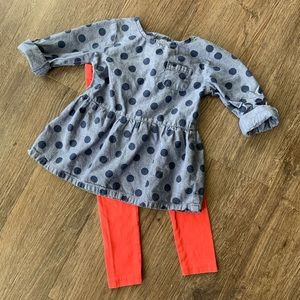 Girls 2 Piece Denim and Coral Outfit.